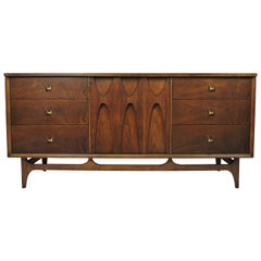 Broyhill Brasilia Mid-Century Modern Walnut Triple Dresser or Credenza