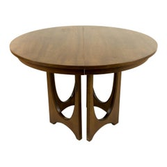 Broyhill Brasilia Mid Century Round Walnut Pedestal Dining Table