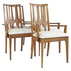 Broyhill Brasilia Mid Century Walnut Captains Chairs, Set of 4