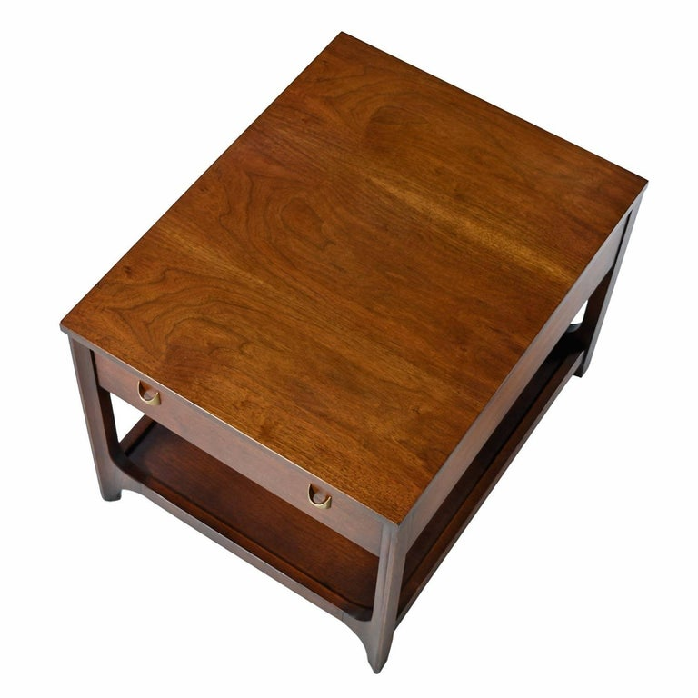 Mid-Century Modern Broyhill Brasilia Nightstand Bedside End Tables, Walnut Chairside Tables For Sale