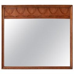 Broyhill Brasilia Sculpted Walnut Mid-Century Modern Framed Mirror