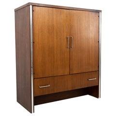 Broyhill Premier MCM Walnut and Chrome Armoire Gentleman's Chest Highboy Dresser