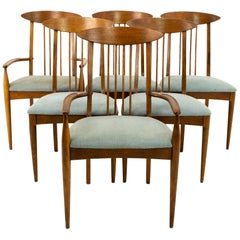 Broyhill Sculptra Mid Century Walnut Cat's Eye Dining Chairs - Set of 6