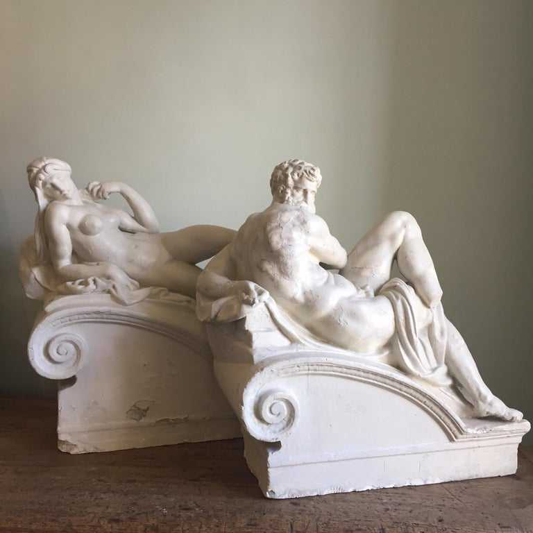 Italian Brucciani Plaster Sculptures from the Tomb of Medici by Michelangelo For Sale