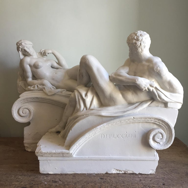 Brucciani Plaster Sculptures from the Tomb of Medici by Michelangelo In Good Condition For Sale In Tetbury, GB