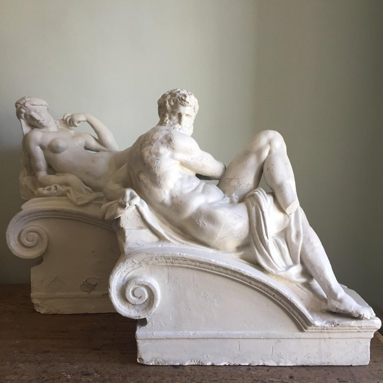 A pair of 19th century classical plaster sculptures, each impressed with D. Brucciani to the rear. 
