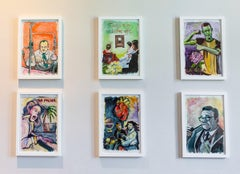 A Set of 6 Contemporary American Expressionist Paintings Framed Portrait Surreal