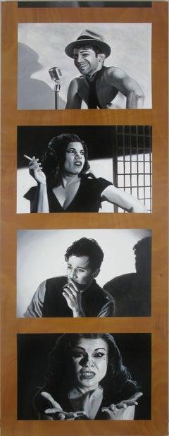 Contemporary Hyperrealist Large Portrait Film Noir Strip Film Still Black White
