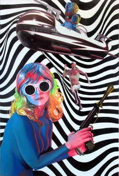 Contemporary Surrealist Hyperrealist Large Colorful Figure Psychedelic  Woman