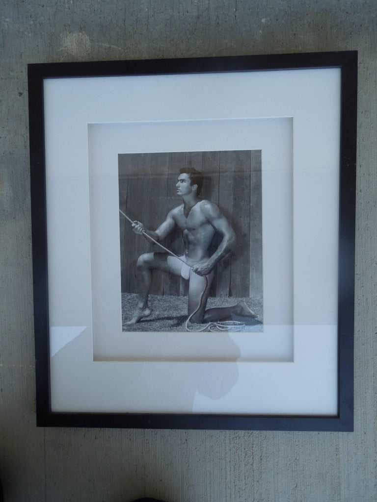 From an important collection of Male Physique and Beefcake photography, image # 7 of male model Bill Gregory. Printed in the 1960s and are all signed by the studio when Mr. Bruce Bellas aka Bruce of LA was alive. Beautifully, professionally framed.