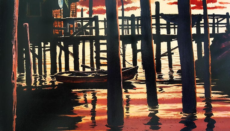 Salt Gold Sunset, Saturday Evening Post Story Illustration - Painting by Bruce Bomberger