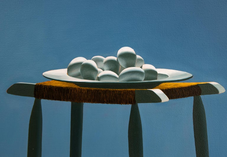 Untitled, Interior with Glass Table and Bowl of Eggs - Painting by Bruce Cohen