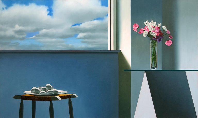 Bruce Cohen Interior Painting - Untitled, Interior with Glass Table and Bowl of Eggs