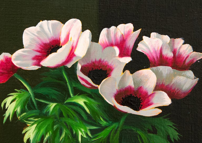 Untitled, Interior with Lit Anemones and Tulips in the Shadow - Painting by Bruce Cohen