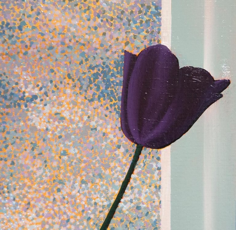 Untitled, Interior with Lit Anemones and Tulips in the Shadow - Photorealist Painting by Bruce Cohen