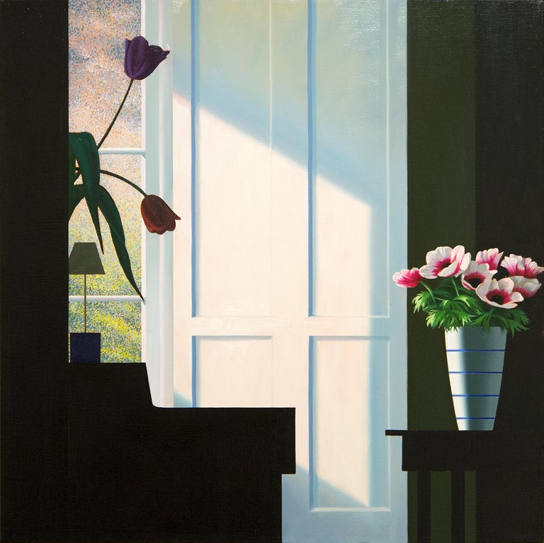 Bruce Cohen Interior Painting - Untitled, Interior with Lit Anemones and Tulips in the Shadow
