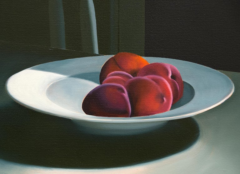 Untitled, Interior with Night Sky and Bowl of Peaches - Painting by Bruce Cohen