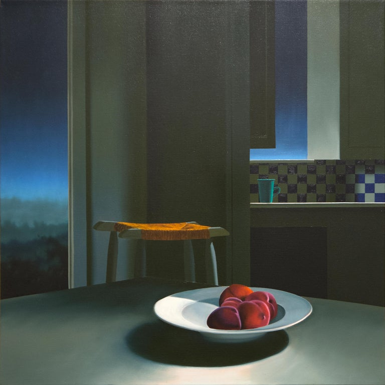 Bruce Cohen Interior Painting - Untitled, Interior with Night Sky and Bowl of Peaches