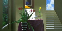 Untitled, Interior with Staircase, Malivich Painting and Tulips