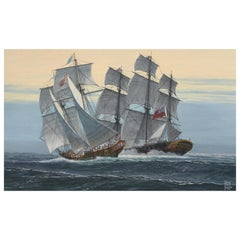 Bruce Elliot Roberts '1910' 'The Capture of a Powdership' Oil on Canvas