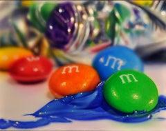 "Photorealist Still Life with blue orange green, ""Studio XVIII (M&M's)"""