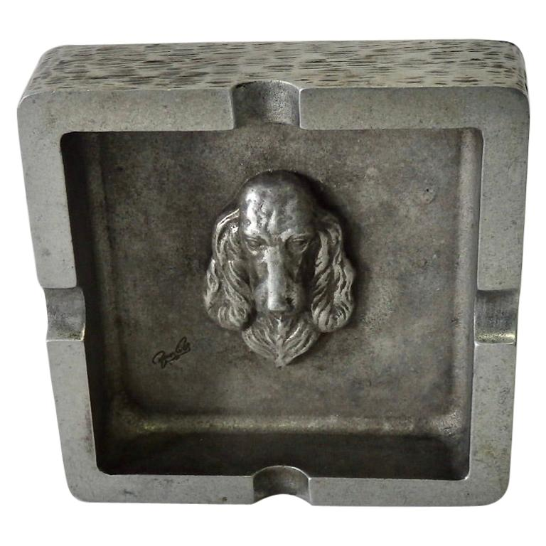 Bruce Fox Square Aluminum Ashtray with Setter Dog