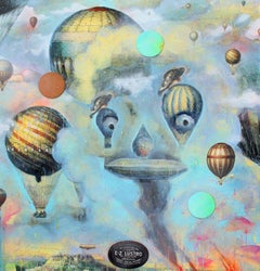 Hot Air (Blue, Yellow, Contemporary Narrative Painting)
