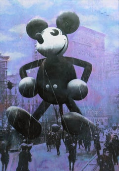 Macy's Mickey Mouse (Purple, Blue, Black, Contemporary Narrative Painting)