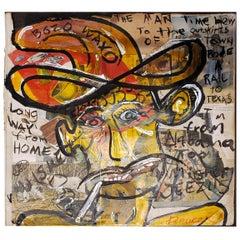 Bruce Lee Webb Painting on Vintage Collage