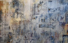A Wind Behind the Cloud (Abstract Expressionist Painting in Blue, Gold & Gray)