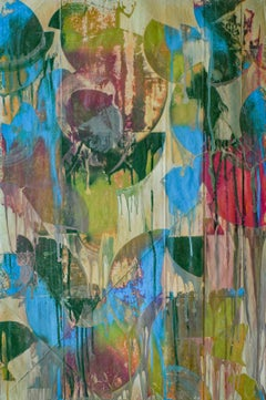 An Orgy of Delight (Abstract Expressionist Painting in Green, Blue and Fuschia)
