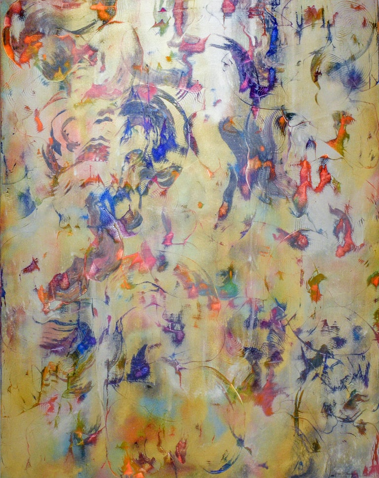 Bruce Murphy Abstract Painting - Birds Fly in Air (Abstract Expressionist Painting in Blue, Gold & Pink)
