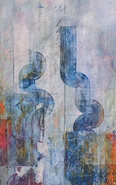 Conversation Between Marks (Abstract Metallic Expressionist Painting in Blue)