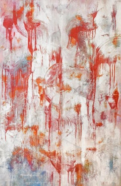 Deep in the Recesses (Abstract Expressionist Painting in Silver Orange Red Blue)