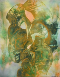 Lady with a Frog (Gestural Abstract Painting on Paper in Green & Ochre)