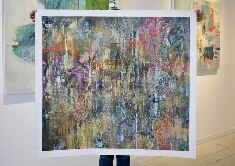Learning the Indecipherable (Gerhard Richter Style Abstract Painting on Paper) For Sale 1