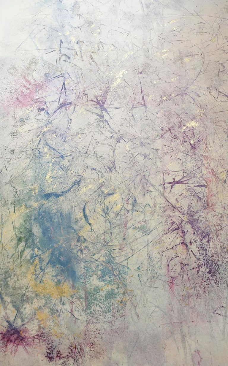 Life Does Not Get Less Strange (Abstract Expressionist Painting in Pastels Hues) - Brown Abstract Drawing by Bruce Murphy
