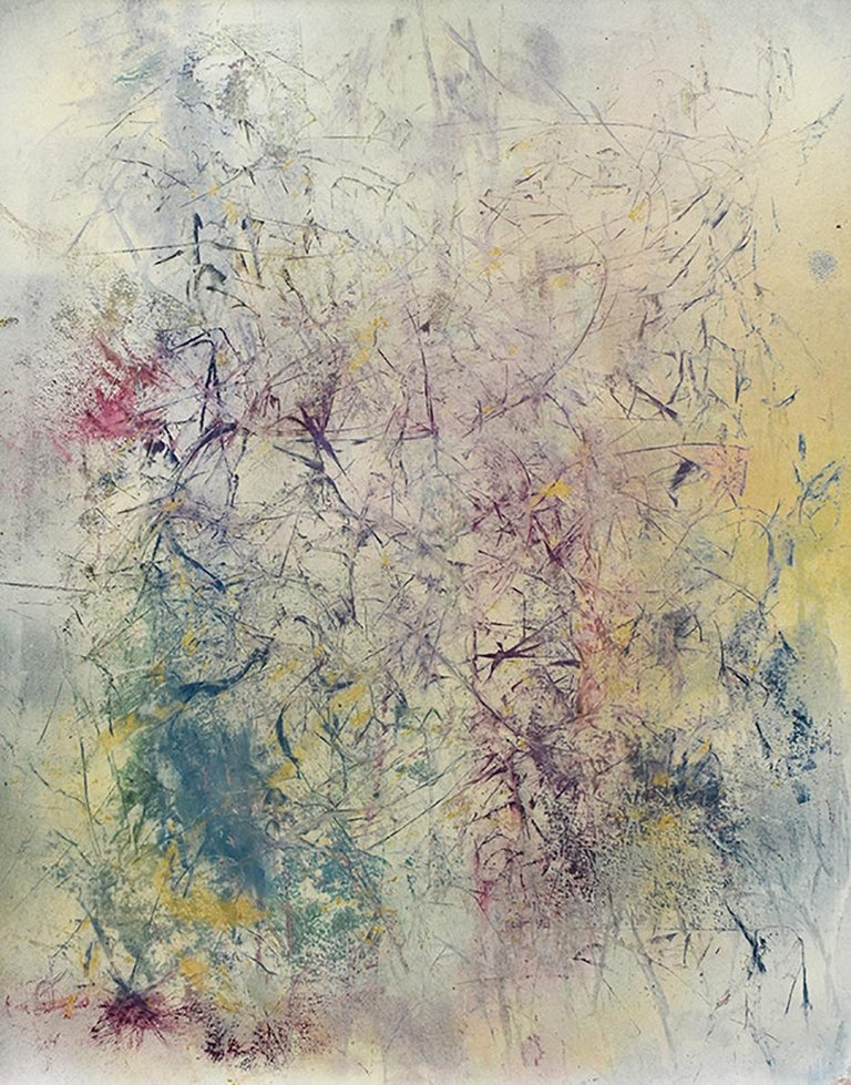 Bruce Murphy Abstract Drawing - Life Does Not Get Less Strange (Abstract Expressionist Painting in Pastels Hues)