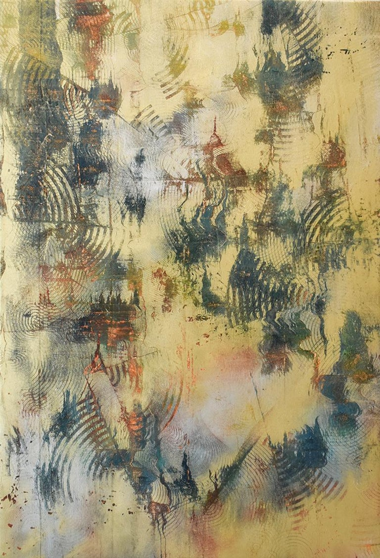 Pattern Of Energy Abstract Painting In Gold Silver With Subtle Color