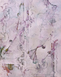 Pink Monday (Abstract Expressionist Painting in Pink, Silver & Violet)