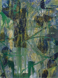 Potential of Chance I (Abstract Expressionist Painting in Green, Blue & Gold)