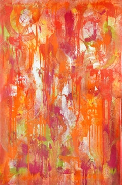 Statement of Benefits (Abstract Expressionist Painting in Orange, Red, Yellow)