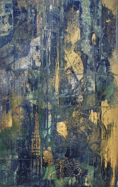 Temptation in Blue & Gold: Abstract Expressionist Painting with Metallic Powders