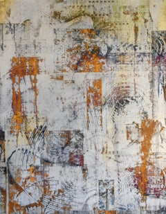 The Silence of Friends (Gestural Abstract Painting, Enamel and Metallic Powders)