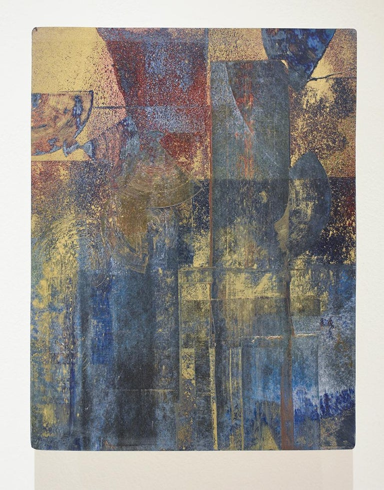 Time & Again II: Abstract Expressionist Painting in Indigo Blue, Gold & Burgundy - Art by Bruce Murphy