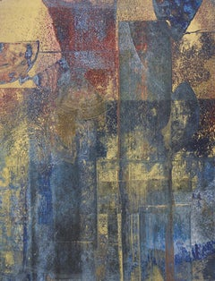 Time & Again II: Abstract Expressionist Painting in Indigo Blue, Gold & Burgundy