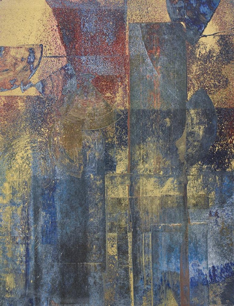 Bruce Murphy Abstract Drawing - Time & Again II: Abstract Expressionist Painting in Indigo Blue, Gold & Burgundy