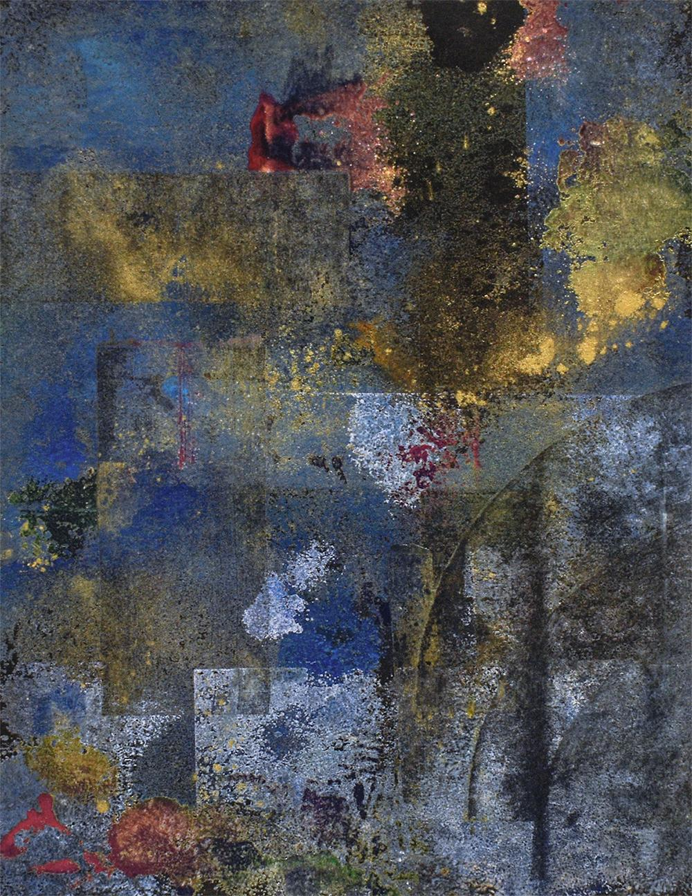 Time and Again 1 (Abstract Expressionist Painting in Blue, Gold & Gray)