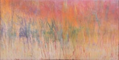 Untitled 4 (Abstract Encaustic Painting in Pink, Orange, Beige, Green & Purple)