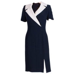 Bruce Oldfield Blue Couture Dress with Detachable Collar